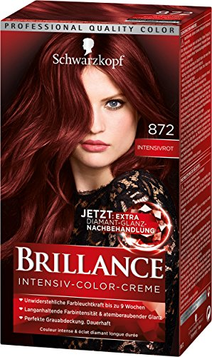 Schwarzkopf Brillance Intensiv-Color-Creme, 872 Intensivrot Stufe 3, 3er Pack (3 x 143 ml)