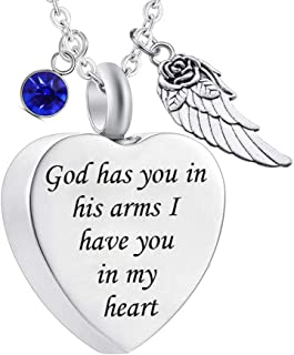 God has You in his arms with Angel Wing Charm Cremation Ashes Jewelry Keepsake Memorial..