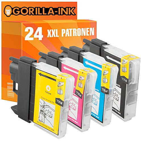 Gorilla de Ink 24x Cartuchos de impresora XXL compatible para Brother LC1100MFC-5890CN MFC-5895CW MFC-6490CW MFC-4450DCP-6690CW MFC-6890CDW, de 6890cw