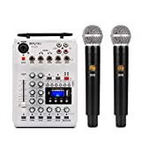 TIUENHAVU Karaoke Portable DJ Console Mixer Soundkarte mit 2-Kanal UHF Wireless...