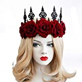 Vintage Red Rose Queen Hair Band, Halloween Christmas Headbands Headdress for Women and Girls, Perfect Hair Accessories Floral Flower Crown for Ball Party Masquerade and Cosplay. (red)