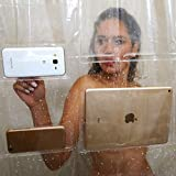 LEILEI Doublure de Rideau de Douche Transparente pour iPad - Douze Poches tactiles - Support étanche pour Tablette ou téléphone - Matériau EVA 72x72 Salle de Bain (Taille: 72 * 72 Pouces)