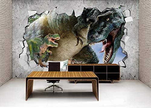 Fotobehang 3D dinosaurus wereld wandschilderijen vliesbehang wandschilderij Wall Mural Wallpaper modern design wanddecoratie voor slaapkamer woonkamer kinderkamer 350 cm x 245 cm.