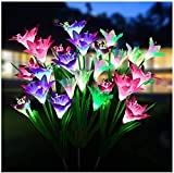 Xergy Outdoor Solar Garden Lights; Multi-Color Changing LED Solar Landscape Decorative Lights for Garden; Balcony; Driveway(3 Pack Solar Stakes with 12 Lily Flower)(Pink; White and Purple Flowers)