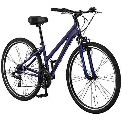 Schwinn Network 1.5 Womens Hybrid Bike, 700c Wheels, 15-inch Frame, 21-Speed, Alloy Linear Pull Brakes, Navy