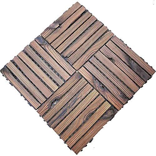 GUANGE Baldosas Cuadradas Suelo de WPC Set de 6 Baldosas de Madera Exterior para Terraza Jardin Antracita 30×30CM,30CM×30CM