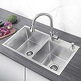 CECIPA Grantas H603S Lavello Cucina 2 Vasche in Acciaio Inox Spazzolato con Dispenser di Sapone, Raccordi di Scarico e Troppopieno(78 x 43 x 23cm)