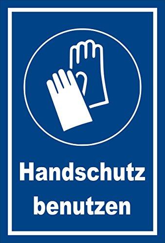 Melis Folienwerkstatt Schild - Gebots-Zeichen - Hand-Schutz benutzen - entspr. DIN ISO 7010 / ASR A1.3 – 30x20cm   stabile 3mm Starke Aluminiumverbundplatte – S00361-018-E +++ in 20 Varianten
