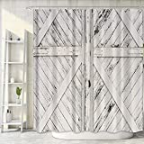 Riyidecor Rustic Barn Door Shower Curtain Painting Gray and White Wooden Vintage Farmhouse Decor Fabric Set Polyester Waterproof 72Wx72H Inch 12 Pack Metal Hooks