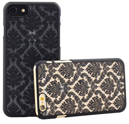 monjour Funda protectora para iPhone 7 Plus, color negro, diseño de henna y flores [plástico duro] – Slim Hard Cover Case Mandala Damasco punta