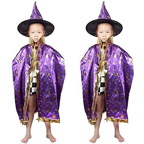 COOGG Umorden jongen meisjes kinderen Halloweenkostuum hekmagie mantel robe en hoed muts sterren fantasie cosplay voor jongens meisjes