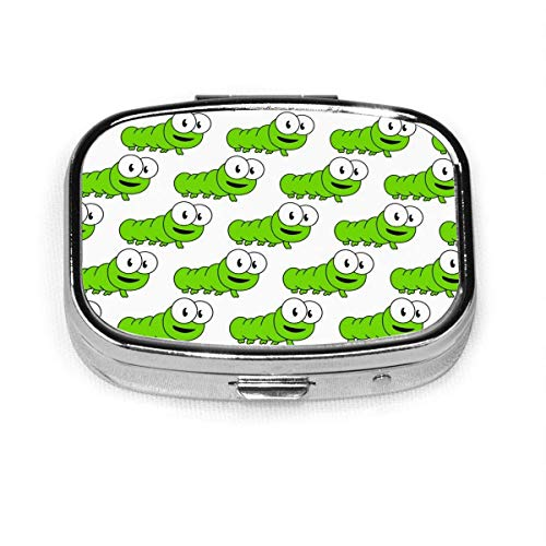 Green Caterpillars Fashion Square Pillenbox Medizin Organizer Halter