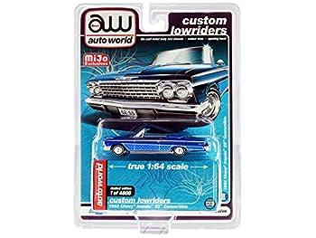 Autoworld CP7662 1-64 Scale 1962 Chevrolet Impala SS Convertible Blue Metallic Lowriders Diecast Model Car - 4800 Piece