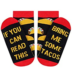 "Funny Design: ""IF YOU CAN READ THIS, BRING ME SOME TACOS"" printed on socks. Show your love for tacos with these fun socks. Best Gift Idea: These funny tacos socks are perfect gifts for women, mom, grandma. They are also good Christmas gift for women ..."