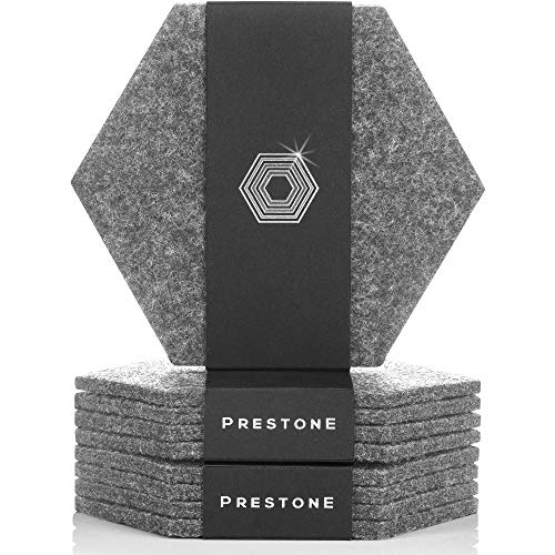 Coasters for Drinks Set of 9, Absorbent Felt Coasters with Double Holder, Unique Phone Coaster, Premium Package, Perfect Housewarming Gift Idea | Protects Furniture, Table, Desk (Hexagon, Gray)