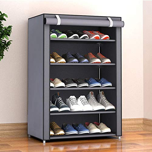 QiKun-Home Zapatero organizador de almacenamiento, 15 pares, portátil, doble fila con cubierta de tela no tejida, zapatero para armario (gris plateado)
