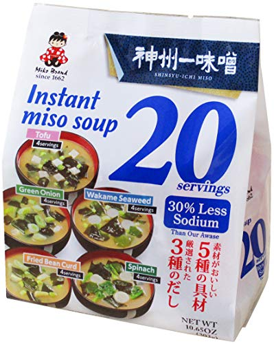 Miko Brand Instant Miso Soup Awase-Variety-30% Less Sodium, 10.65 Ounce