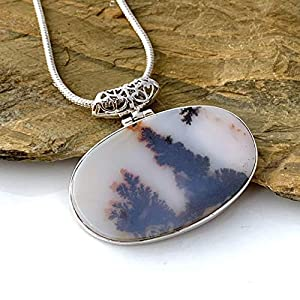 Dendritic Oval Pendant 925 Sterling Silver Necklace