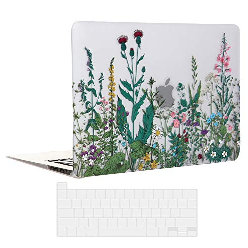 EkuaBot Flowers MacBook Pro 13 inch Case & Transparent Keyboard Cover (A2159/A1989/A1706/A1708, New Version 2016-2019 Release), Matt Hard Case Only Compatible MacBook Pro 13.3 with/Without Touch Bar