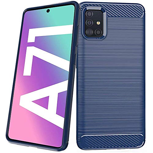 ebestStar - Galaxy A71 kompatibel mit Samsung Hülle SM-A715F Kohlenstoff Design Schutzhülle, TPU Handyhülle Flex Silikon Hülle, Dunkelblau [A71: 163.6 x 76 x 7.7mm, 6.7'']