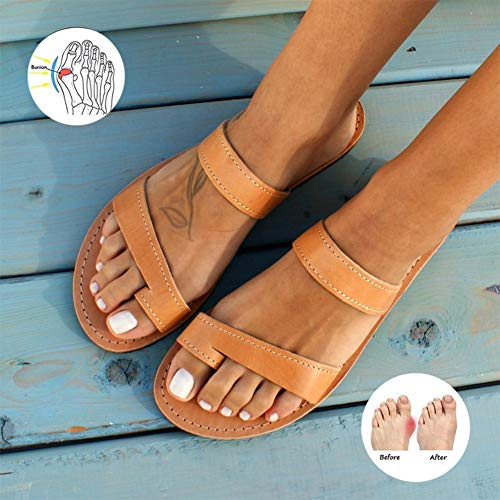 Comfy Platform Platte Zool PU Lederen Schoenen Voor Vrouwen Casual Soft Grote Teen Voet Correctie Sandaal Met Orthopedische Bunion Corrector,Brown,37
