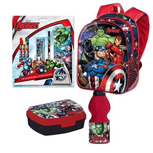 Avengers Hulk Iron Captain America Thor 4 Teile Set Rucksack Tasche Kindergarten mit Sticker von Kids4shop