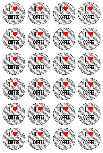 AK Giftshop Ik hou van koffie - 24 eetbare Cupcake Toppers Taart Decoraties - Gemakkelijk Precut Cirkels