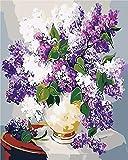 Flores En Un Jarrón, Pintura Al Óleo, Set Digital, Regalo para Adultos, Pintura, Lienzo, Pintado A Mano, Bricolaje, 40X50CM-Frameless