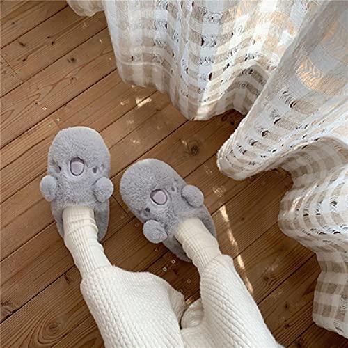 Zapatillas Microondas,Mao Frote Zapatos Femenino OtoñO E Invierno Pareja Interior Antideslizante Lindo Historieta Caliente, ResbalóN, Zapatos De AlgodóN De Felpa De Casa-34_Gris