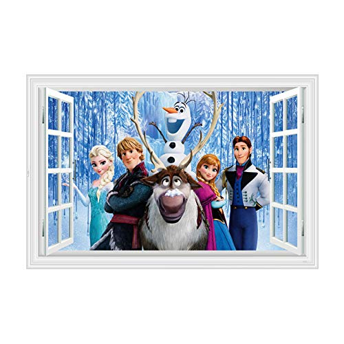 Haus Dekoration Disney ELSA Aisha Anna Gefrorene Wandaufkleber Kinderzimmer Hauptdekoration wasserdicht Selbstklebende Wandklebepapier (Color : B324, Size : 60x90cm)