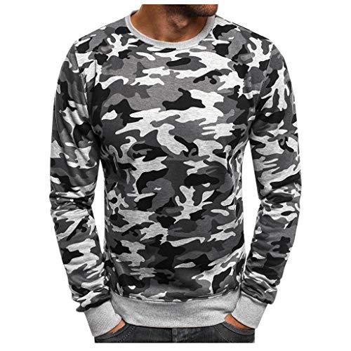 VRTUR Muscle T-Shirt Longue Camouflage Chemisiers Coupe DéContractéE pour Hommes Boutons Conception Moitié Cardigans Court Manche Svelte en Forme DéContractéE