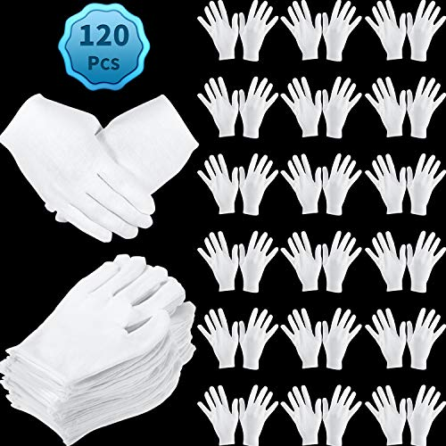 120 Pieces White Cotton Gloves Large Size for Men Women Dry Hand Art Handling Coin Jewelry Inspection (L)
