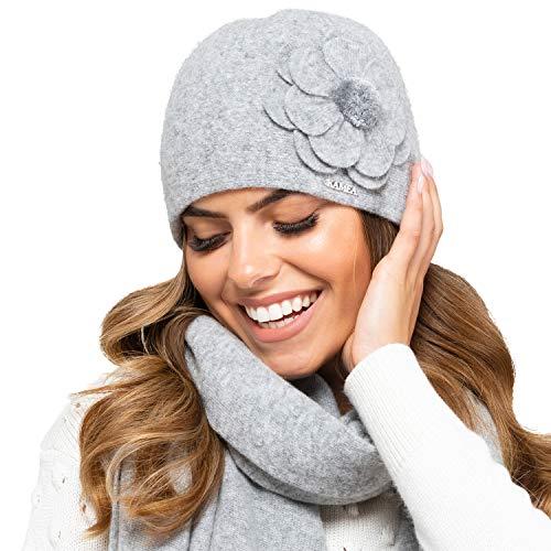 Kamea Damen Mütze Kopfbedeckung Herbst Winter Marbella, Grau,Uni