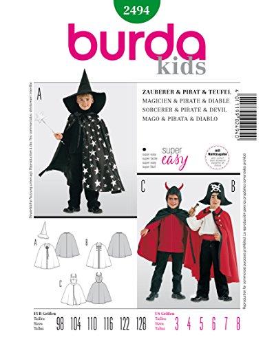 Burda 2494 Schnittmuster KostŸm Fasching Karneval Zauberer Pirat Teufel (Kids, Gr, 98-128) Level 1 super Easy