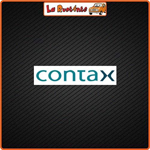 2 stickers CONTAX (Vinile) Moto Vespa fietshelm Canon Nikon Sony Fuji 26x6 Cm