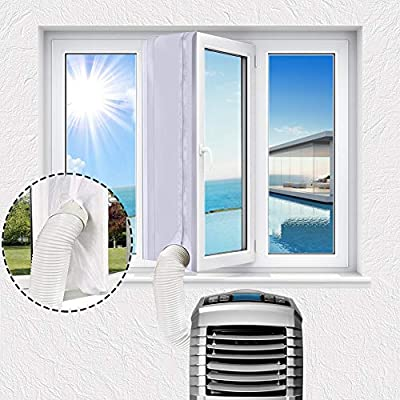 400mm Airlock Window Seal for AC Unitm, Universal Window Seal for Portable Air Conditioner Mobile Air Conditioning and Tumble Dryer, with Zip and Adhesive Fastener