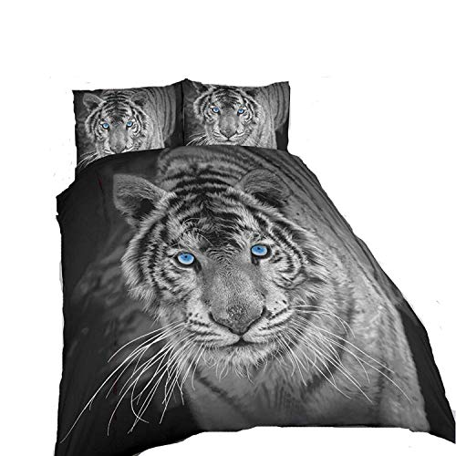 ARLINENS 3D Effect Animal Printed Duvet cover Bedding Set With Pillowcase Available in Following Design & Sizes: (Black & White Tiger, King)