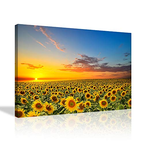 Sunflower Canvas Wall Art Warm Color Sunrise in The Field Landscape Scenery Painting Sunflower Picture Print Art for Living Room Bedroom Home Office Framed Ready to Hang