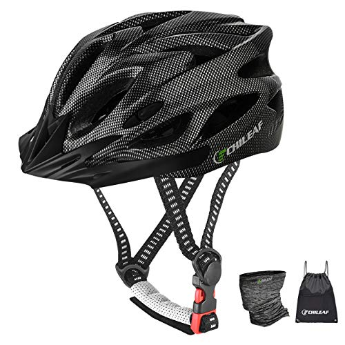 CHILEAF Adult Bike Helmet with Visor, Sport Headwear, 18 Vents, Cycling Bicycle Helmets Adjustable Lightweight Adults Mens Womens Ladies for BMX MTB Mountain Road Bike
