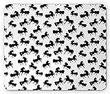 Alfombrilla de ratón para caballos, Siluetas de animales de granja con varias poses Galopando Trotando Galope y loping, Alfombrilla de ratón de goma antideslizante rectangular de tamaño estándar, Negr