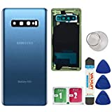 Afeax OEM Back Glass Cover Back Door Replacement for Samsung Galaxy S10 Plus with Installed Camera Lens and Repairing Tool & Adhesive All Models (Prism Blue)