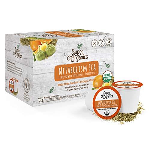 Super Organics Metabolism Oolong Tea Pods With Superfoods & Probiotics | Keurig K-Cup Compatible | Weight & Metabolism, Slim Tea | USDA Certified Organic, Vegan, Non-GMO, Natural & Delicious Tea, 12ct