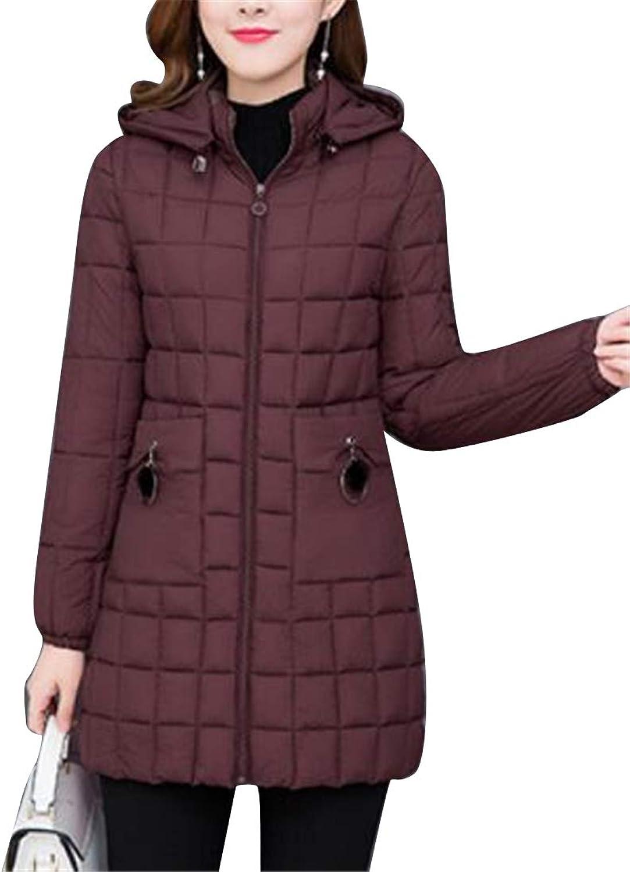Jofemuho Womens Slim Thermal Winter Zip Up Hooded Long Down Quilted Jacket Coat