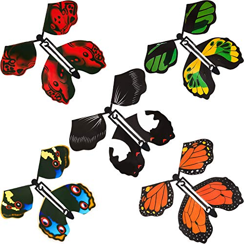 5 Pieces Magic Fairy Flying Butterfly Wind up Butterfly Toy Colorful Flying Butterfly Decorations for Surprise Wedding Birthday