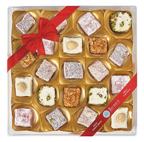 Marmara Turkish Delights Gold Gift Box Assorted Hazelnut Pomegranate Pistachio Kadayif Apricot Almond Rose Marshmallow Gourmet Sweet Confectionery Locum Dessert 450 Grams One Pound 21 Large 2 Inch Pieces