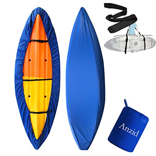Anzid Waterproof Kayak Canoe Cover for Outdoor Storage, Canoe Accessories,Kayak Accessories Dust Cover UV Protection Sunblock Shield for Fishing Boat/Kayak/Canoe (Dark Blue, 3.1~3.5m/10.1ft~11.4ft)