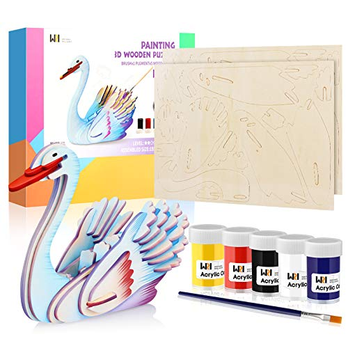 [Amazon] 30% Off 3D Wooden Painting Coloring Puzzle Set (Swan) Educational Stem Toy for Kids $6.99 + FS with Prime