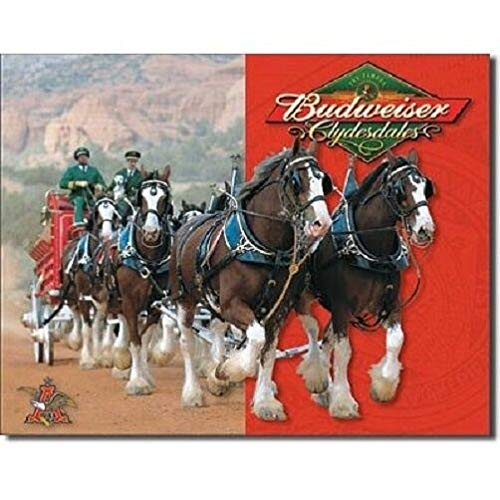 SRongmao Anheuser Busch Budweiser Beer Bud Clydesdales Horses Retro Vintage Look Metal Tin Sign 8x12in New