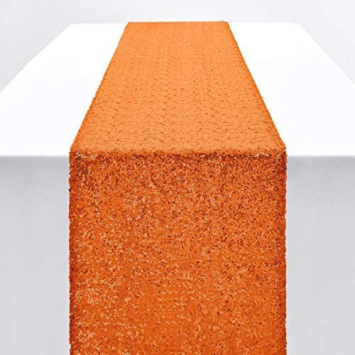 Pufogu 12 x 72 inches Orange Sequin Table Runner Glitter Table Runner for Birthday Party Supplies product image
