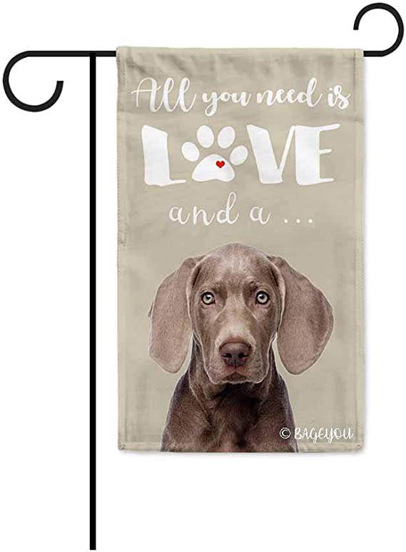 Bageyou All You Need Is Love And A Dog Weimaraner Decorative Garden Flag For Outside Cute Puppy Paws Beige Background 12 5x18 Inch Printed Double Sided Garden Outdoor